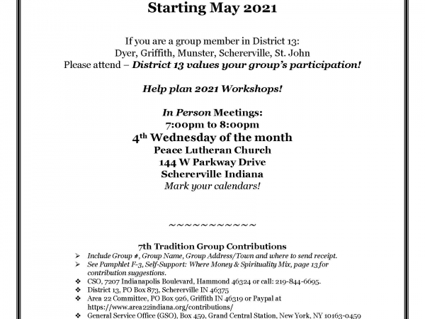 District 13 Monthly Meetings Now In-Person